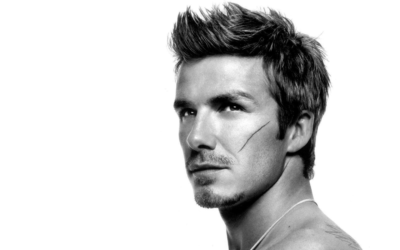 David Beckham scrached face black and white Photography