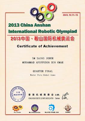 Report China Anshan International Robotic Olympiad 2013 D1