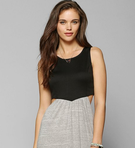 Effortless black and grey maxi dress with cute side cutouts from Urban Outfitters
