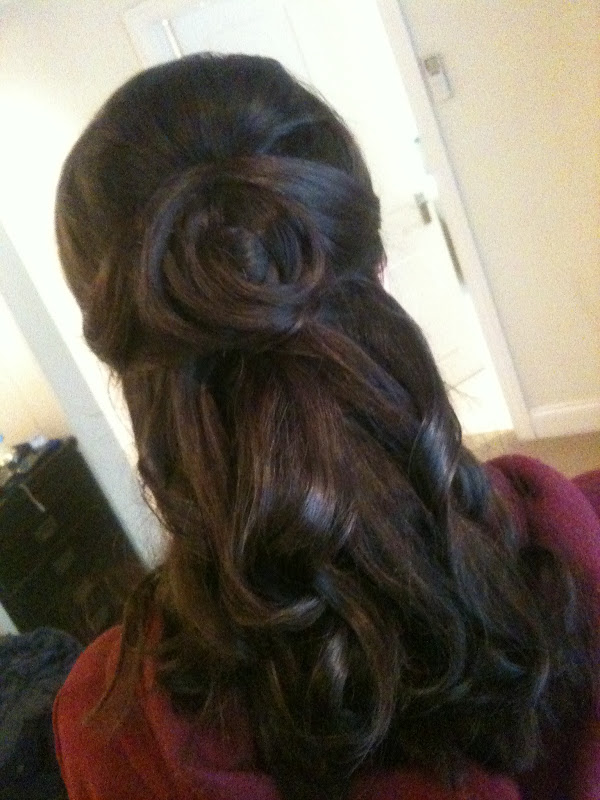 Styling the other bridesmaids hair, I pinned some up to add a detailed  title=