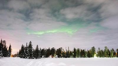 Luosto Finland Aurora Borealis Cloudy Colourful