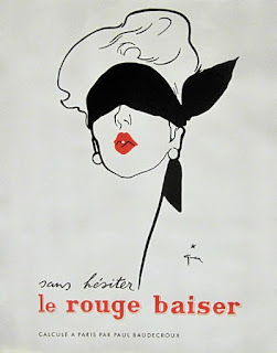 rené gruau affiche ruoge baiser cosmetique femme dior