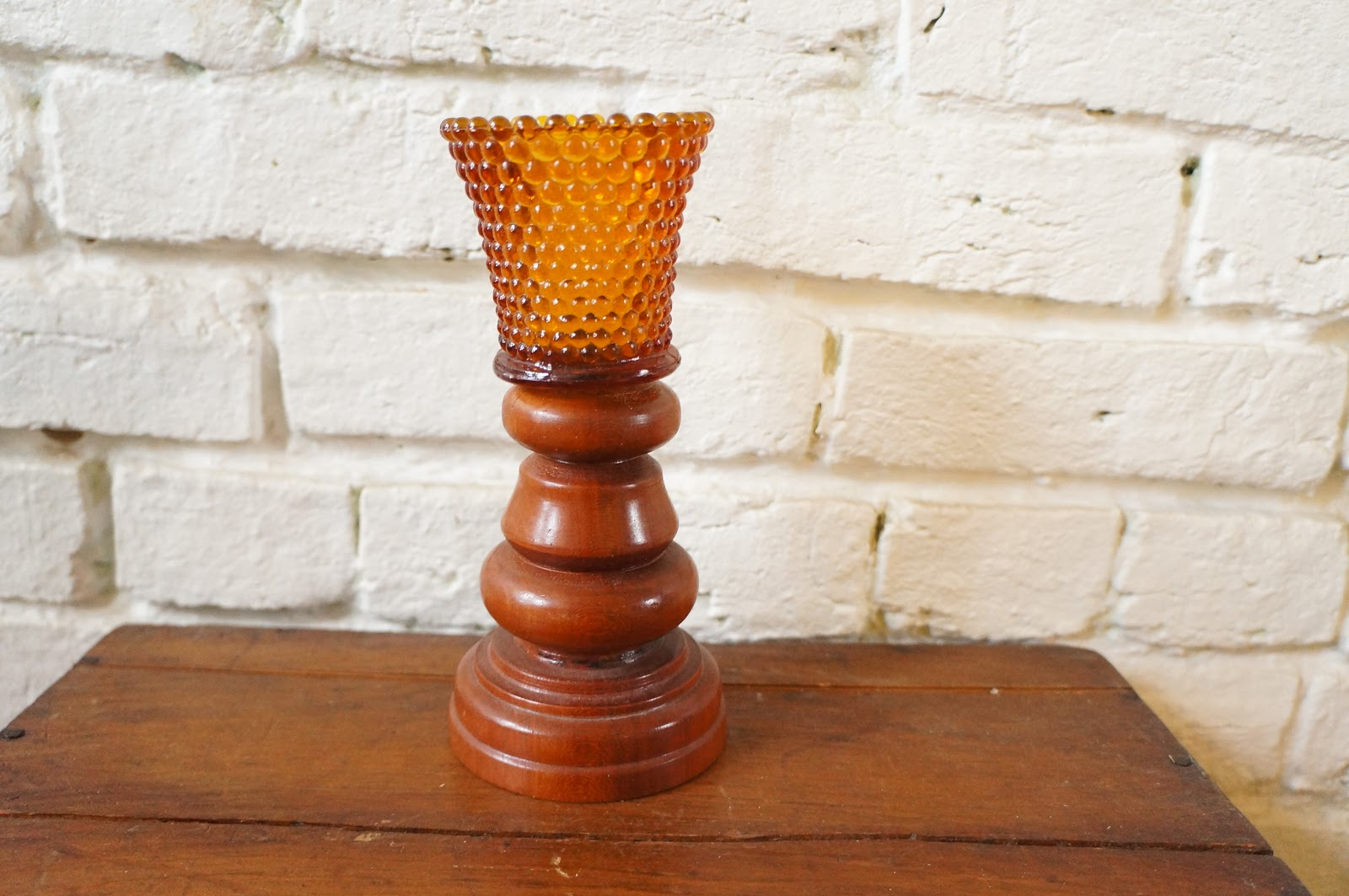 Vintage and homemade amber and wood candle holder redo for Homemade candle holders