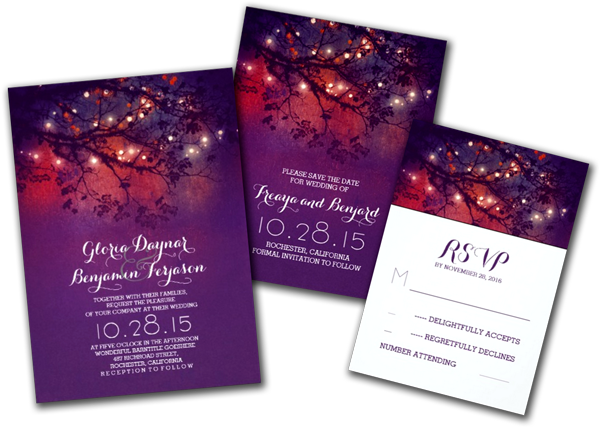 Rustic Tree Branches Purple String Lights Wedding Invitation Card