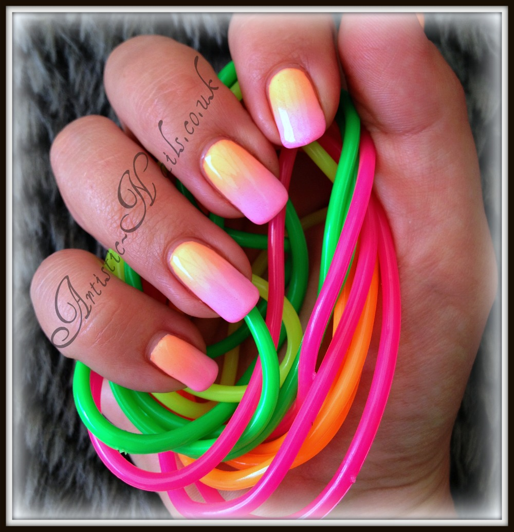 Artistic Nails Poole UK: Neon Ombre Shellac