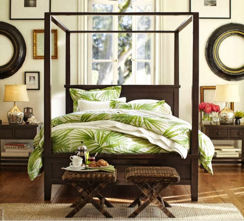 Eye for design decorating tropical style for Green and brown bedroom designs