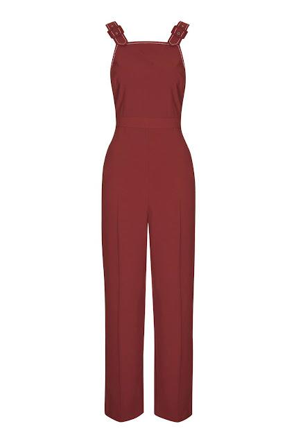 red shoulder strap jumpsuit,