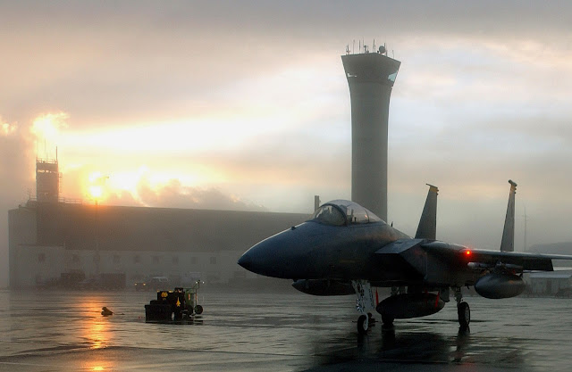 An F-15 Eagle from the 12th Fighter Squadron here prepares to taxi out.