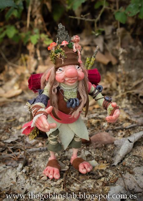 Fantasy creature faerie traveller goblin ooak doll