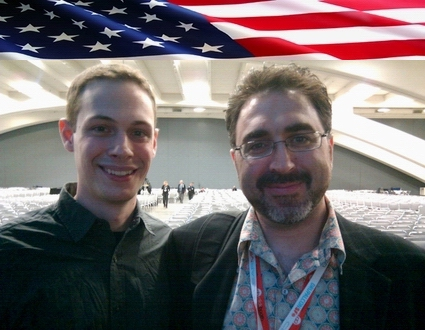 Sam Bazzi of Arcs, right, with Dave Cole of the New Media Team at the White House