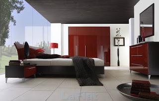 dormitorio en rojo y negro