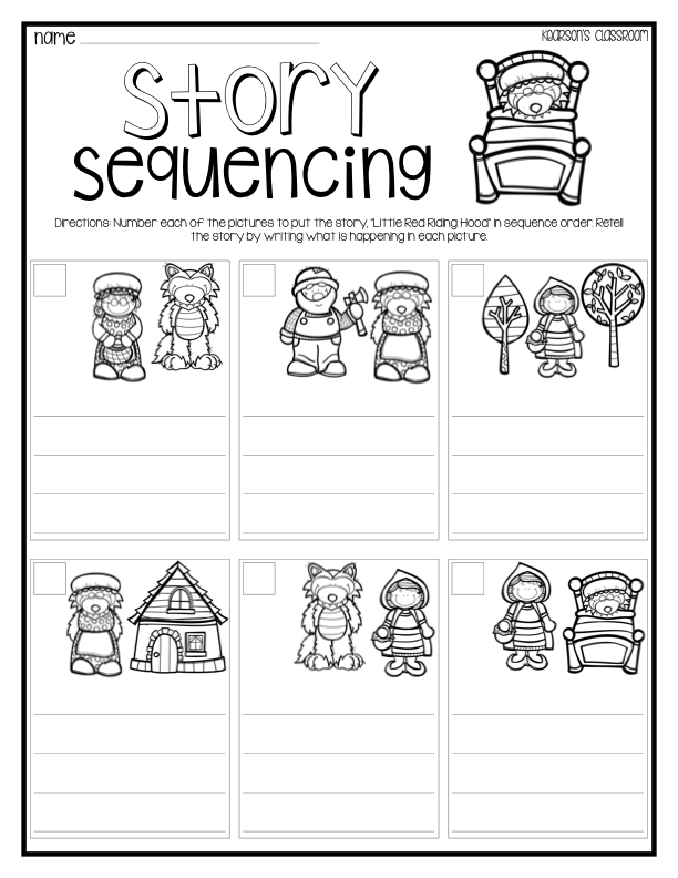 Kearsons Classroom Big Bad Wolf Compare and Contrast – Kindergarten Story Sequencing Worksheets