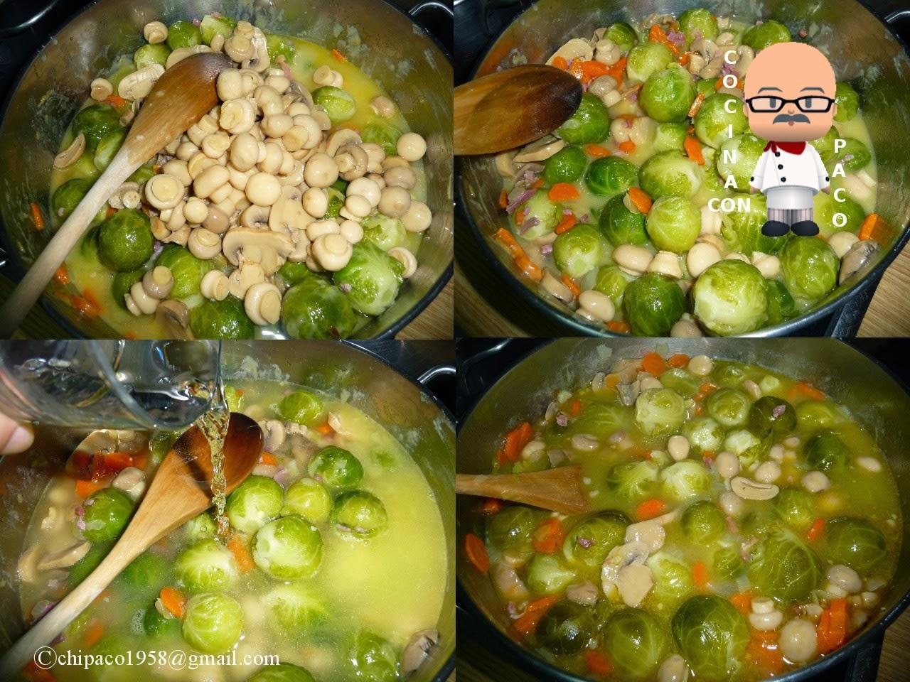 Cocina con paco coles de bruselas con champi ones - Cocer coles de bruselas ...