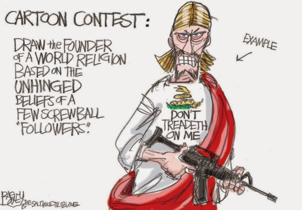 Cartoon Contest:  Draw the founder of a major religion based on the unhinged beliefs of a few screwball followers.  Image, labeled