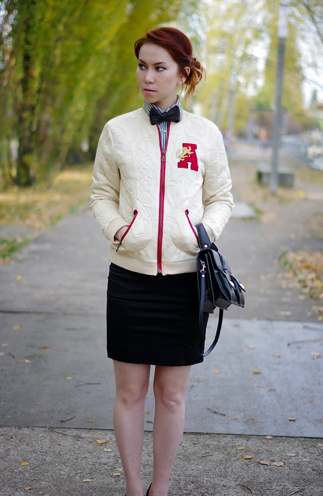 How to turn a simple blouson into a trendy letterman jacket. Deigned by Xenia Kuhn for fashion blog www.fashionrolla.com