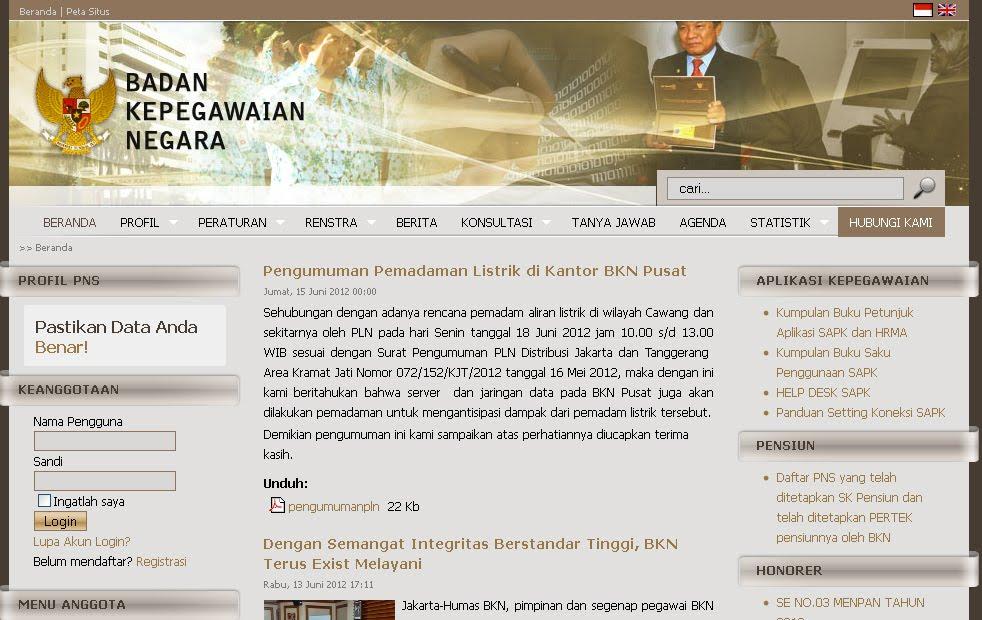 Website Resmi Badan Kepegawaian Negara www.bkn.go.id
