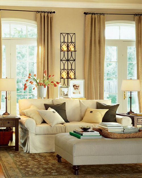 Modern warm living room interior decorating ideas by for Wall decorating ideas for living rooms