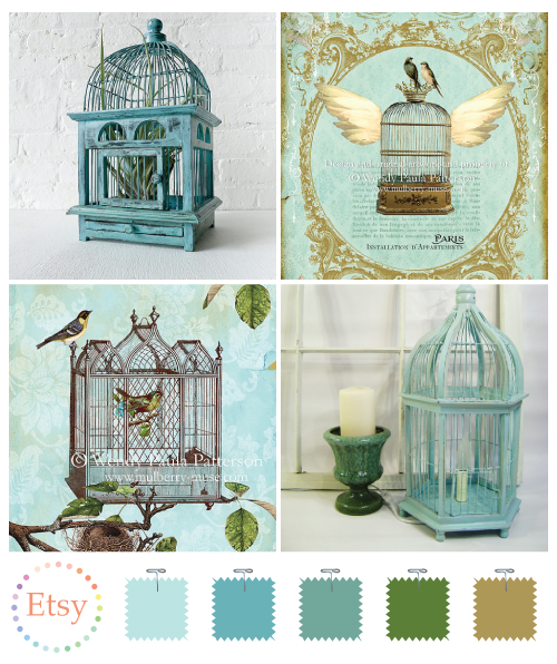 Ornate aqua bird cages