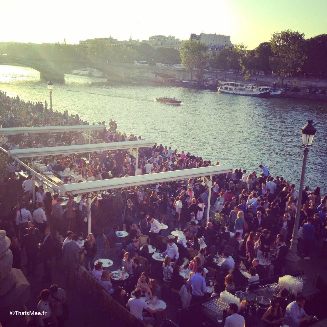 terrasse du Faust, Quai Alexandre III bords de Seine à Paris coucher de soleil soirée afterwork soirée d'ouverture opening night Faust
