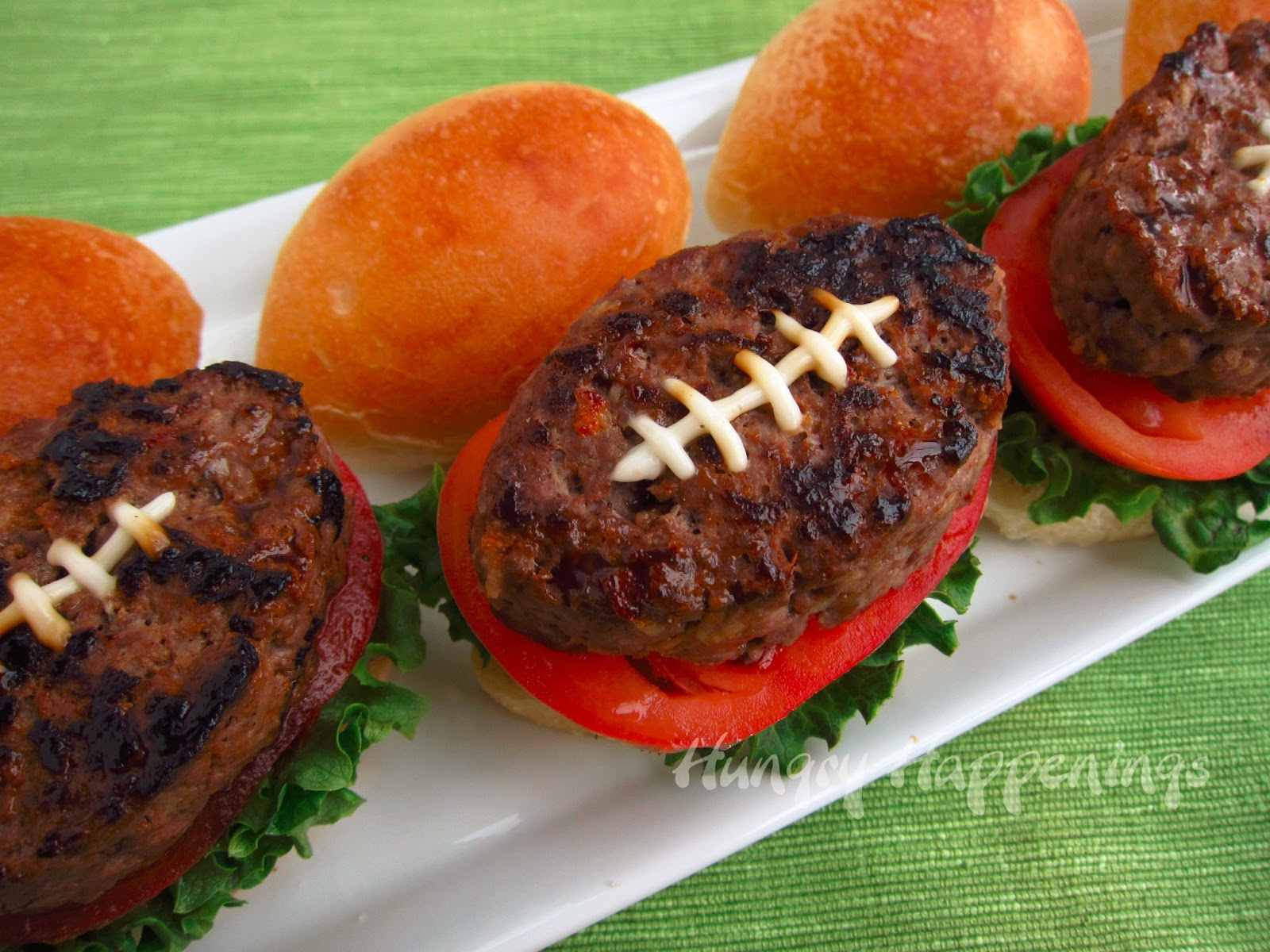 Super Bowl Party Foods Football Shaped Burger Recipe