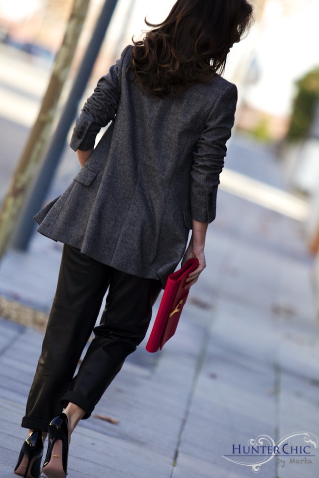 Uterqüe leather pants-zara overside jacket-los top 3-los 10 mejores blogs-HunterChic by Marta-Gucci shoes-SL