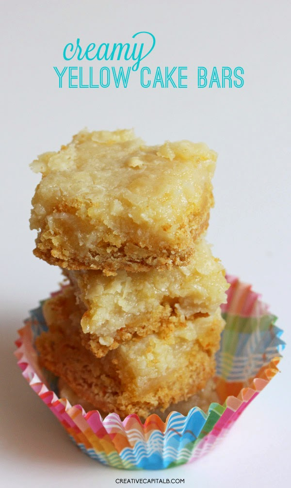 Quick and Easy Creamy Yellow Cake Mix Bars- sounds so yummy!
