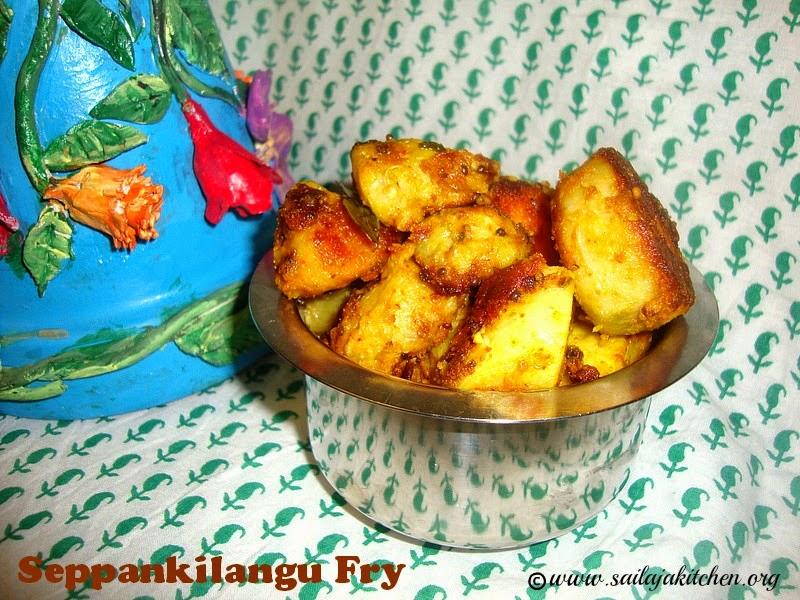 images for Seppankilangu Roast/Seppankizhangu Varuval Recipe/Colacasia Roast Recip /Arbi Fry /Seppankilangu Fry/Cheppankizhangu varuva