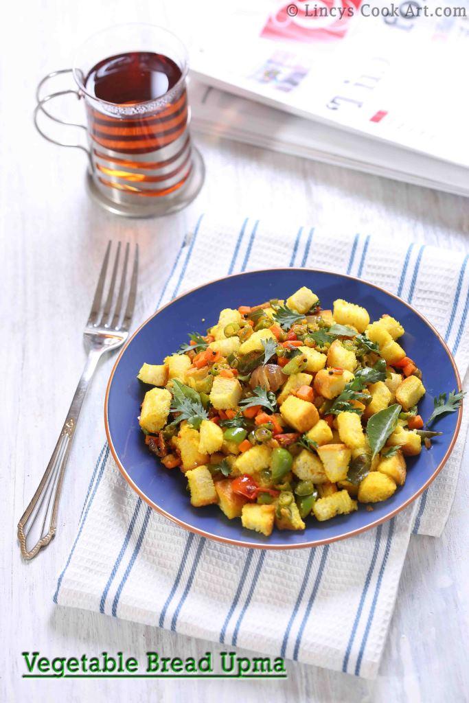 Vegetable Bread Upma Recipe