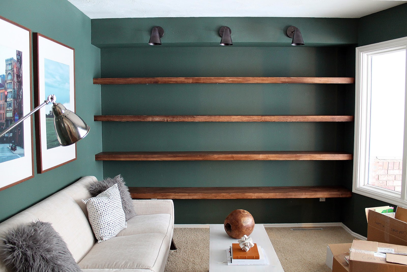 Marvelous DIY Solid Wood Wall To Wall Shelves