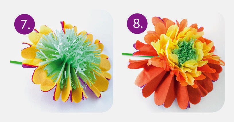 Tissue paper flowers orb factory open your flower with the green side up carefully pull one layer of tissue up towards the middle try to be as gentle as possible so you dont rip the mightylinksfo