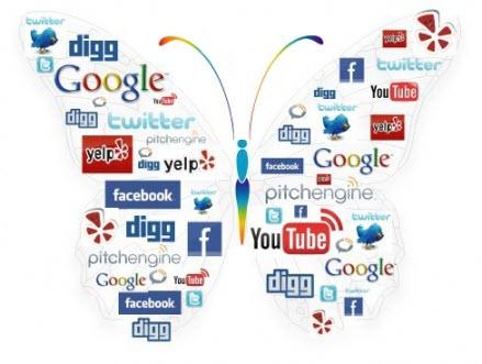 butterfly made of social media logos