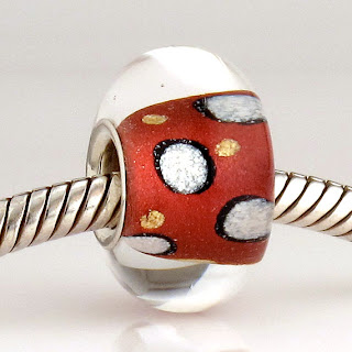 Red and White Dot Mica Lustre Bead