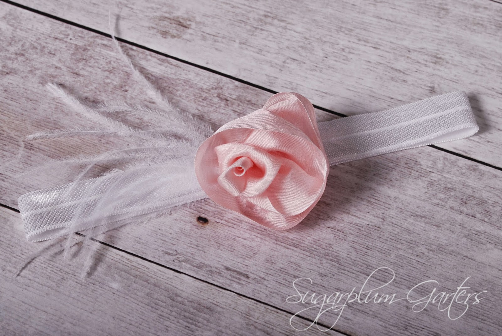 Wedding Garter in Blush Pink Silk and White by Sugarplum Garters