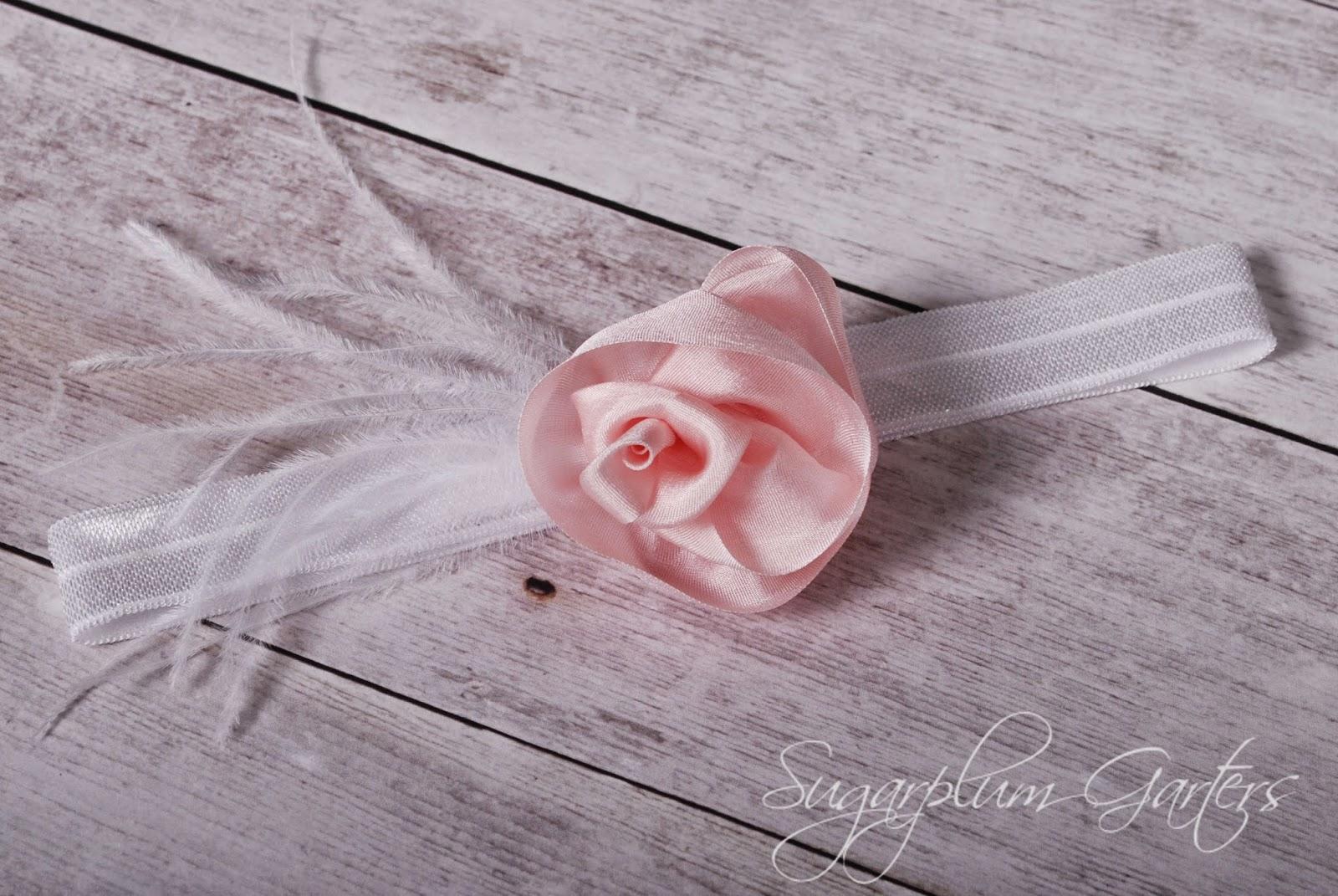 Wedding Garter in Blush Pink Silk and White by Sugarplum Garters