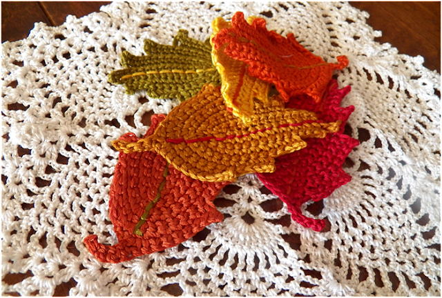 Monday Project - Crocheted Fall Leaves