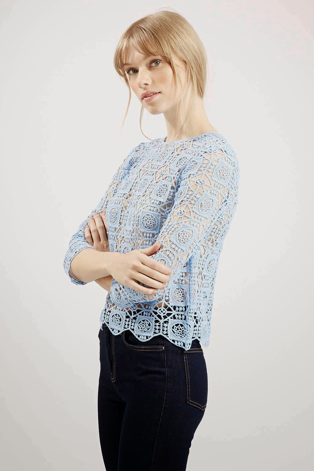 pastel crochet top, crochet scallop top, pale blue topshop top,