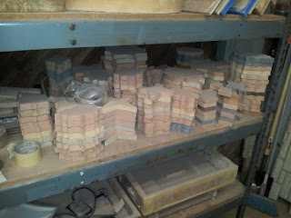 These shapely tiles are the product of the wooden blocks and the rubber molds they helped create.