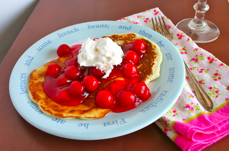 Almond Pancakes With Sour Cherry Syrup Recipe — Dishmaps