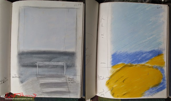 Drawings for possible painted backdrops for a swimwear fashion shoot. Drawings by Kent Johnson.