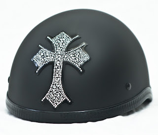 Cross Rhinestone Motorcycle Helmet