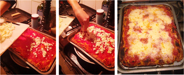 pizza baking, pizza al taglio, pizza mozzarella and tomatoe