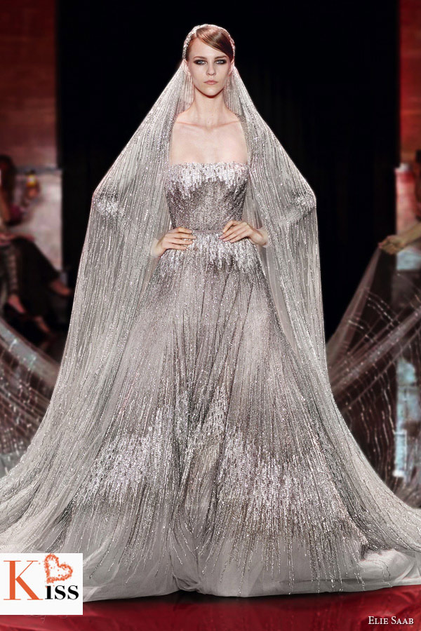 Light Grey Sequins Elie Saab Fall/Winter 2013-2014 Couture