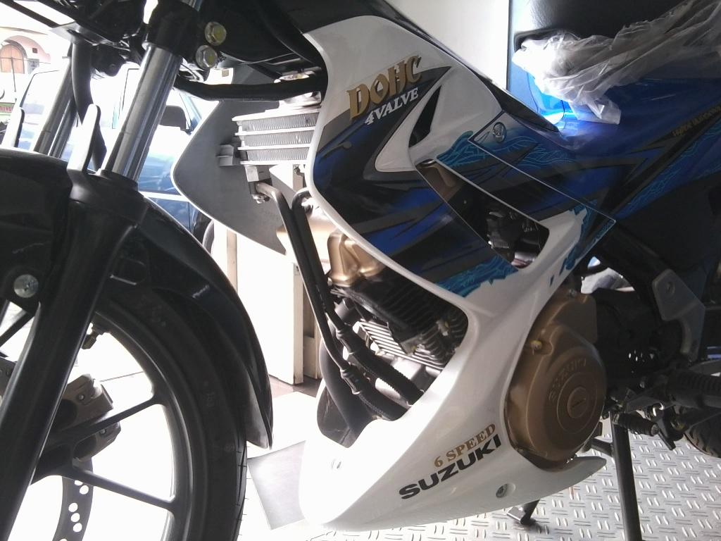 New Updet Satria Warna Biru Putih Modifikasi Suzuki