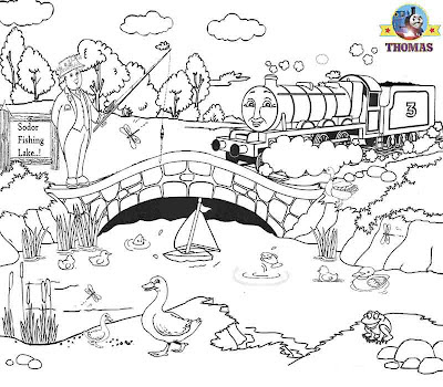 Sir Topham Hatt fishing Duck pond teenagers colouring Thomas the tank engine and Henry train engine