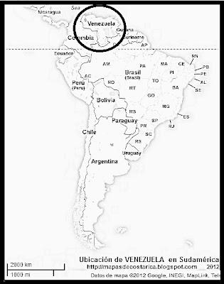 Ubicación de VENEZUELA en Sudamérica, Google Maps, blanco y negro