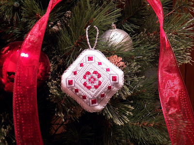 Scarlet and Gray Christmas Ornament, hanging on my Christmas tree!
