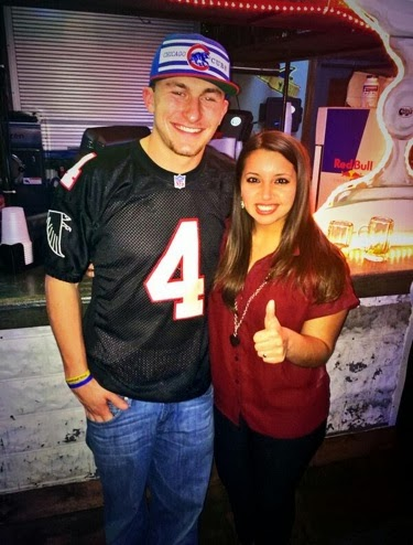 Johnny Manziel wears retro Bret Favre Falcons jersey, makes Falcons fans cry.
