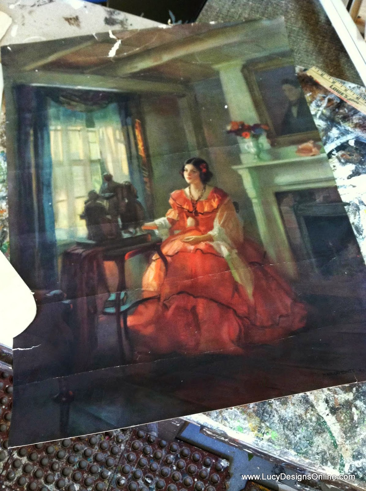 vintage lady in red dress print