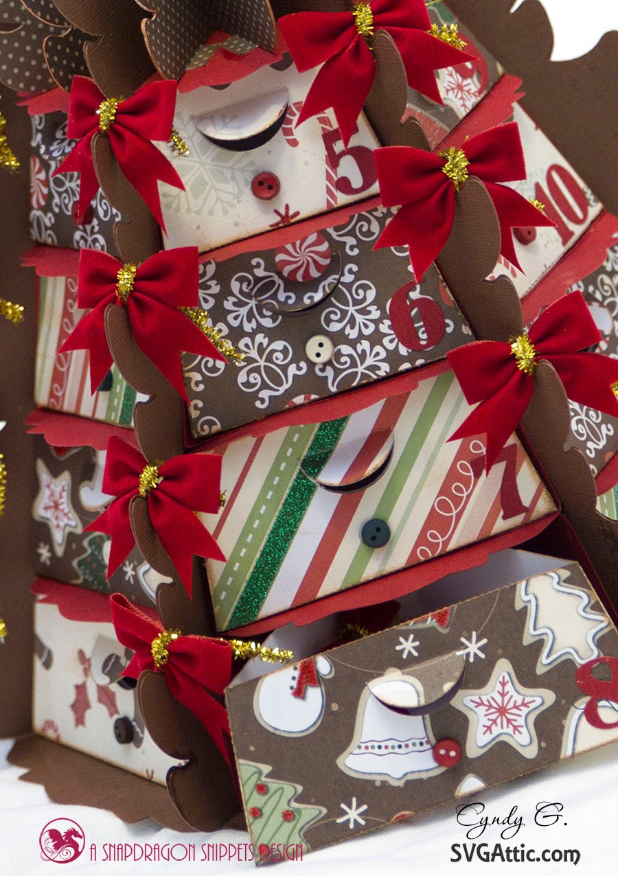 Close up of drawers on Christmas tree advent calendar