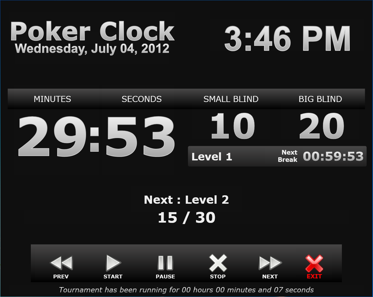 The clock poker tournament